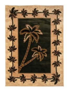 Green/Beige Bahamas Palm Tree Rug 2318A