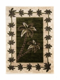 Green/Cream  Bahamas Palm Tree Rug 2318A