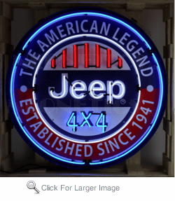 Jeep Neon Sign on Steel Can