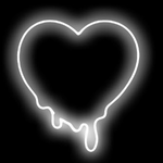 Melted White Heart Neon Sign
