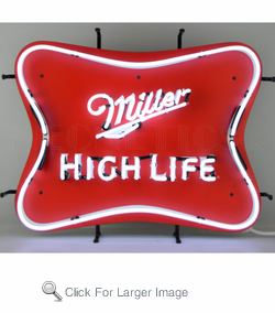 Miller High Life Red Back Neon Sign