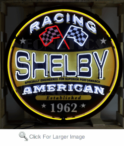 Shelby Racing Round Neon Sign in Steel Can