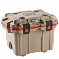 Pelican Elite Cooler Tan and Orange 30 Qt