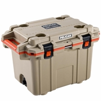 Pelican Elite Cooler Tan and Orange 50 Qt
