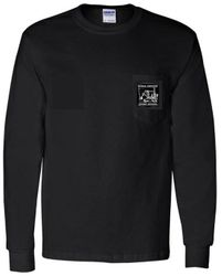 #4015 Black Long Sleeve T-Shirt w/Front Pocket