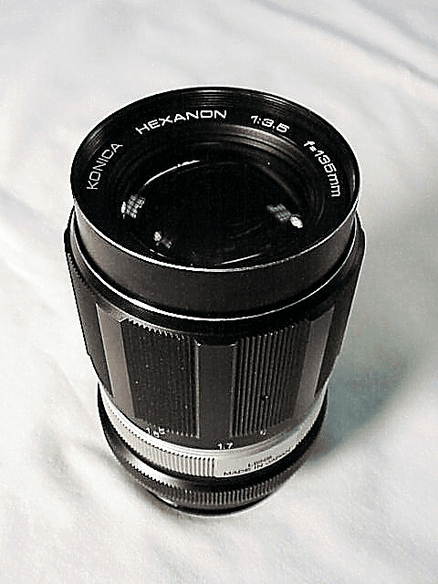 135mm f3.5 Hexanon with filter & hood for Konica