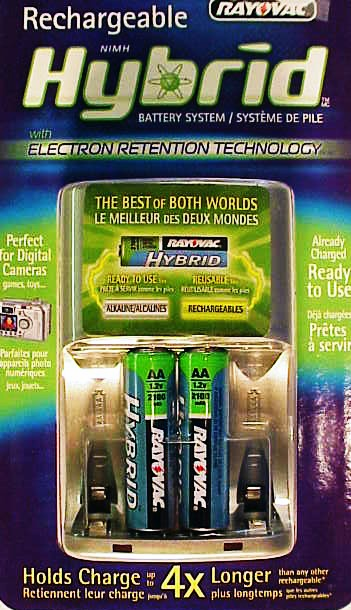 2 Hybrid NIMH AA's 1.2V 2100 mAh with charger (new)