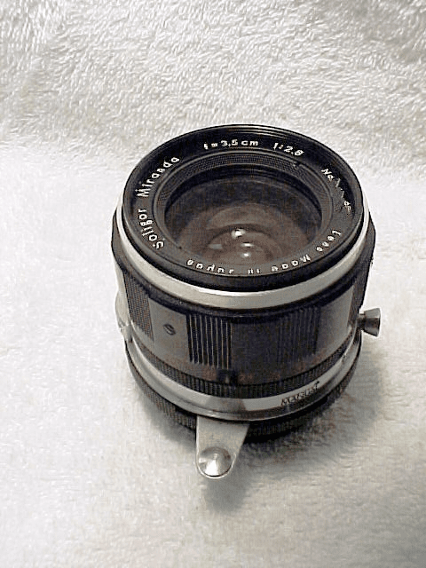 3.5cm f2.8 Soligar Lens with Arm for Miranda (needs cleaning)