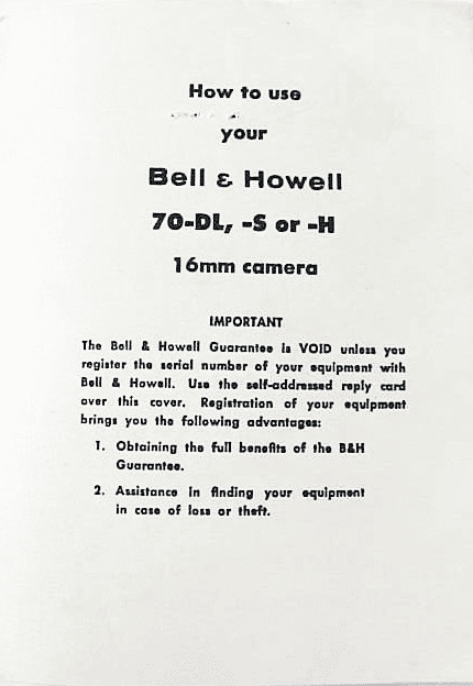 Bell & Howell 70-DL S or H Instructions (xerox)