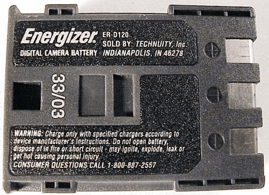 ER-D120 Energizer Nicad for Canon S50 (used)