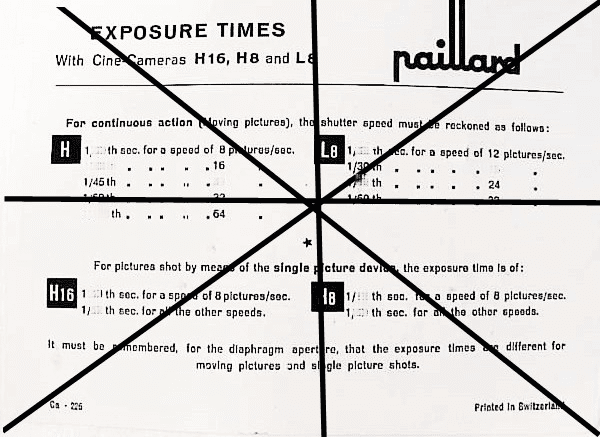 Exposure Times with Cine-Cameras H16 H8 L8 2pg (xerox)
