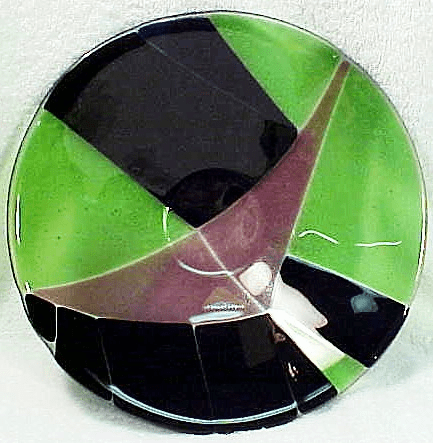 Green Translucent Silver/Black Accent Bowl (No 9)