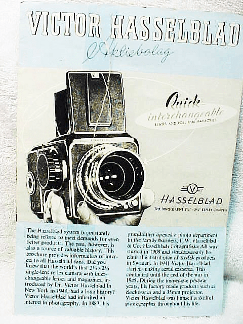 Hasselblad 1000F/1600F Pamphlet  5 panel fold out 1980 (xerox)
