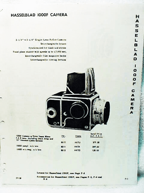 Hasselblad Dealer Catalog 4 pgs 1958 covers 1000F Only (xerox)