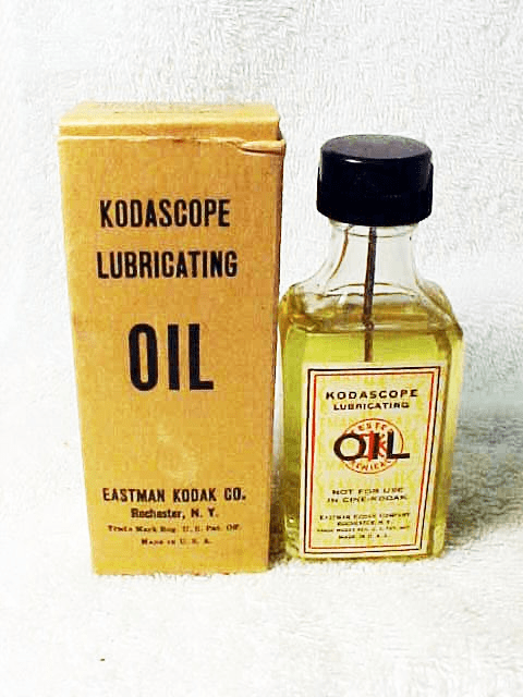 Kodascope Lubricating Oil in antique glass bottle