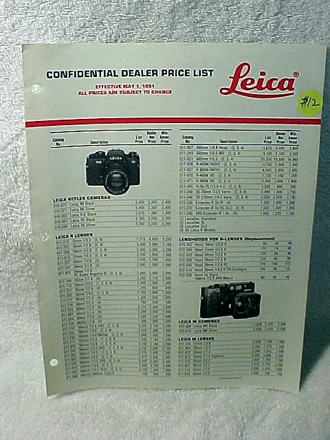Leica Confidental Dealer Price List May 1, 1991