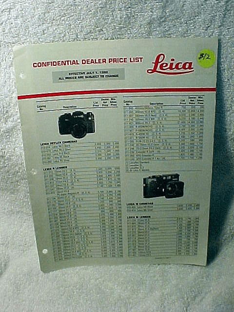 Leica Confidential Dealer Price List July 1, 1992