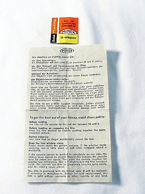 Minox Film/In Camera Use Instructions (No 29)