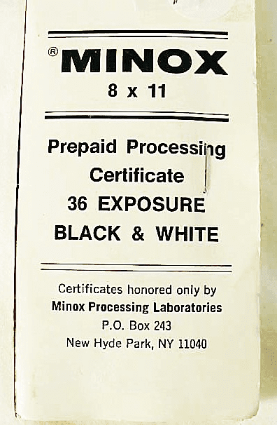 Minox Prepaid Processing Mailer for 36 exposure Black & White