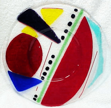 Multicolored Fused Glass Dish (No 22)