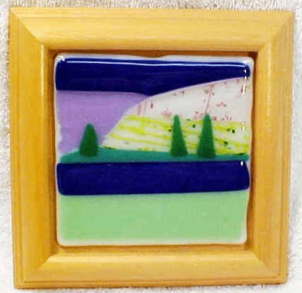 Oregon's Willamette Valley w/ deep blue sky fused glass (No 18)