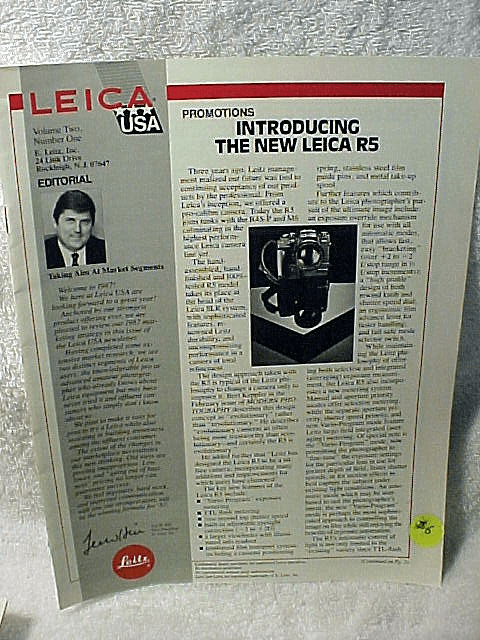"Promotions Leica USA Pamphlet ""Introducing the New Leica R5"""