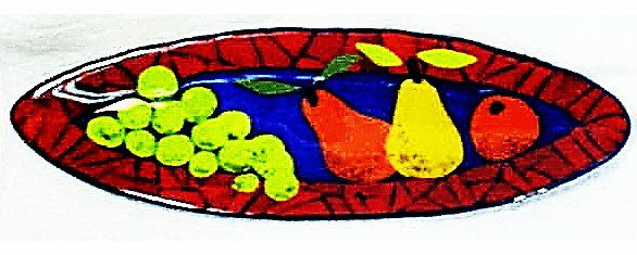 Red Bordered Fruit Decorated Glass Plate (No 4)