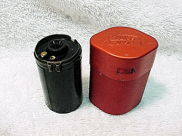 Red Metal Can with Zeiss logo with a reusable film cassette (no logo)