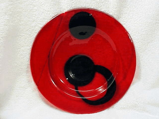 Red Translucent  Fused Glass Bowl (No21)