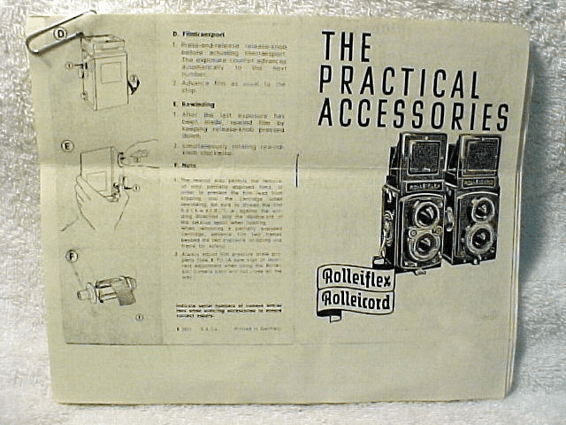 "Rollei TLR ""The Practical Accessories"" c1951 (xerox) 15pgs."