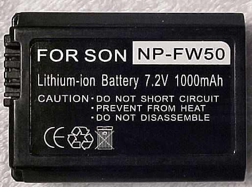 Sony Nex 3 or Nex 5 NP-FW50 1000mAh (replacement battery)