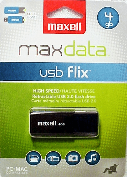 USB Flix 4GB Maxell Flash Drive (New) PC/MAC Plug and Play