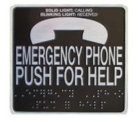 Metal EMERGENCY PHONE Braille Label