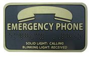 Metal EMERGENCY PHONE Braille Label (Bronze)