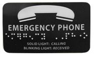 Mylar EMERGENCY PHONE Braille Label
