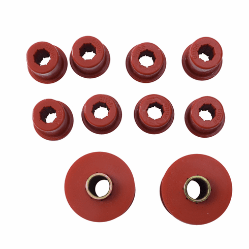 ( 1-1002 ) Red Polyurethane Front Spring & Shackle Bushing Kit for Jeep 1976-86 CJ by Prothane
