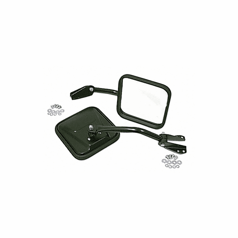 ( 1100103 ) Side Mirrors with Convex Glass, Black, 55-86 Jeep CJ Models by Rugged Ridge