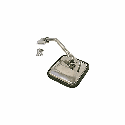 ( 1100503 ) Mirror Head and Arm, Stainless Steel, Left Side, 55-86 Jeep CJ Models by Rugged Ridge