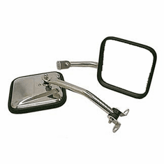 ( 1100506 ) CJ-Style Side Mirror Kit, Stainless Steel, 87-95 Jeep Wrangler by Rugged Ridge