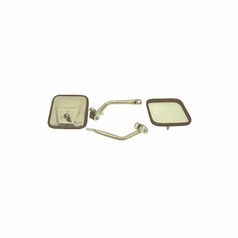( 1100507 ) CJ-Style Side Mirror Kit, Stainless Steel, 97-06 Jeep Wrangler by Rugged Ridge