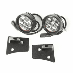 ( 1102717 ) Windshield Bracket LED Kit, Textured Black, Round, 07-18 Jeep Wrangler by Rugged Ridge