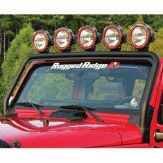 ( 1123221 ) Windshield Mount Light Bar, Textured Black, 07-18 Jeep Wrangler by Rugged Ridge