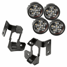 ( 1123232 ) A-Pillar Light Mount Kit, Semi-Gloss Black, Round LED, 07-18 Wrangler by Rugged Ridge
