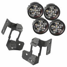 ( 1123234 ) A-Pillar Light Mount Kit, Textured Black, Round LED, 07-18 Wrangler by Rugged Ridge