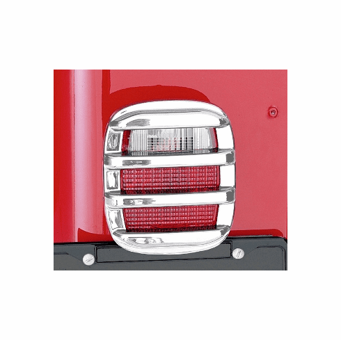 ( 1135403 ) Tail Light Guards, Chrome, 76-06 Jeep CJ and Wrangler by Rugged Ridge
