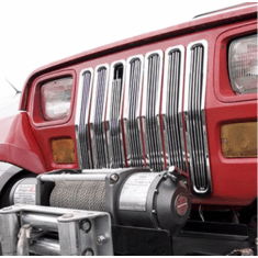 ( 1140101 ) Billet Grille Inserts, Chrome, 87-95 Jeep Wrangler by Rugged Ridge