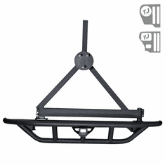 ( 1150313 ) RRC Rear Bumper, 2-Inch Hitch and Tire Carrier, 87-06 Jeep Wrangler by Rugged Ridge