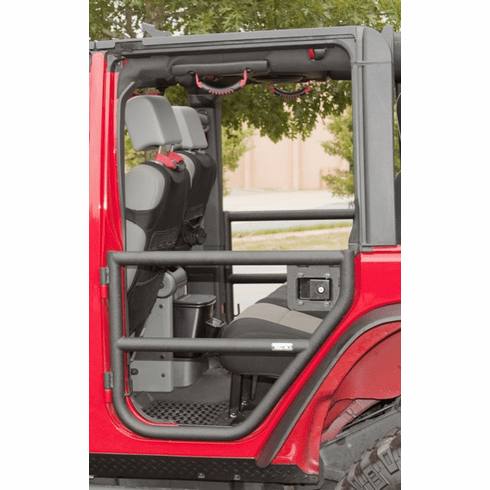 ( 1150911 ) Rear Tube Doors, Textured Black, 07-18 Jeep Wrangler Unlimited by Rugged Ridge