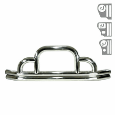 ( 1152101 ) Defender Front Bumper, Stainless Steel, 55-06 Jeep CJ and Wrangler by Rugged Ridge