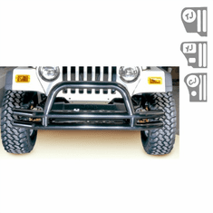 ( 1156001 ) 3-Inch Double Tube Front Bumper with Hoop, 76-06 Jeep CJ and Wrangler by Rugged Ridge